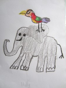 bird and elephant